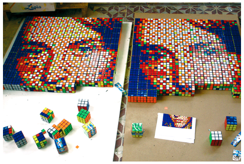 Rubik's Cube Pixel Portraits